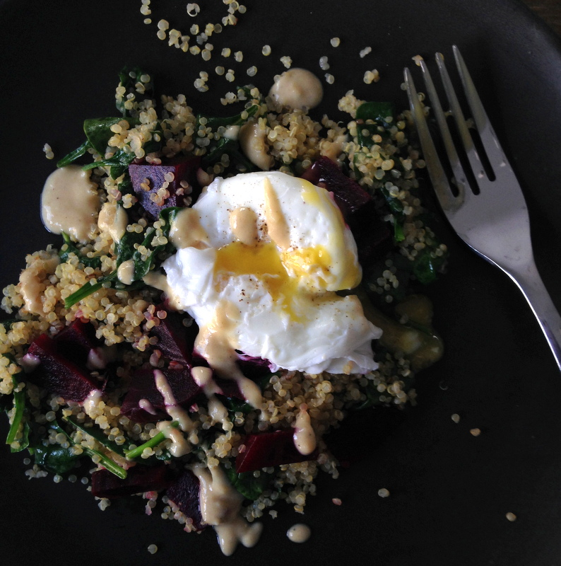 Warm Quinoa Spinach Beet Salad