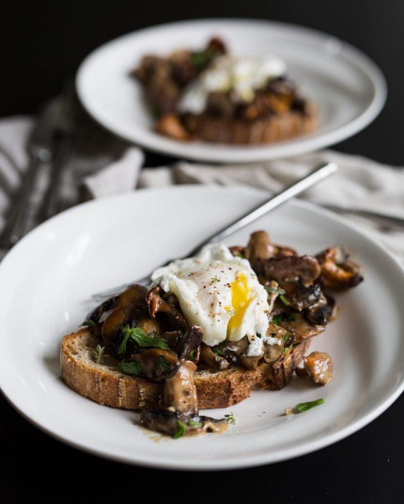 Truffle mushroom toast and poached eggs for them sidewalkcitizen sourdoughhellip