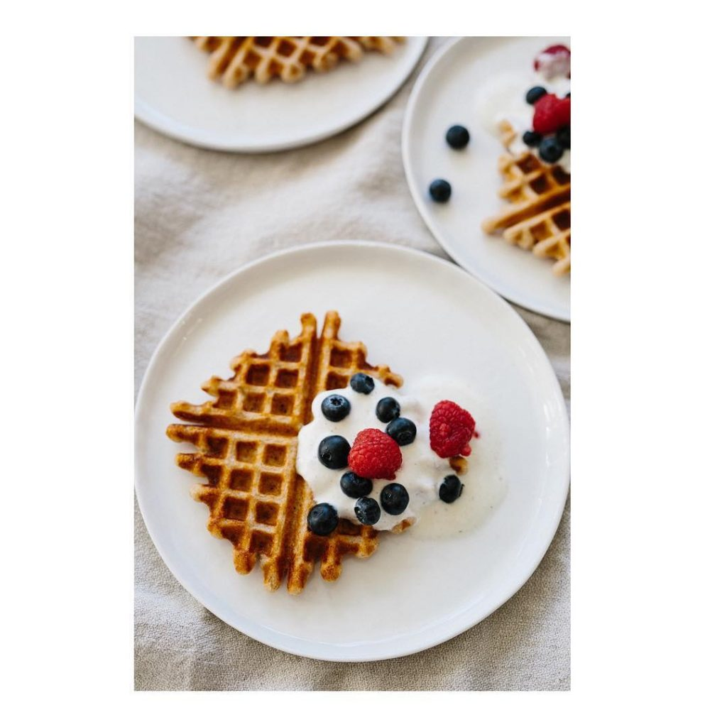 Sourdough spelt waffles with coconut oil and vanilla made ourhellip