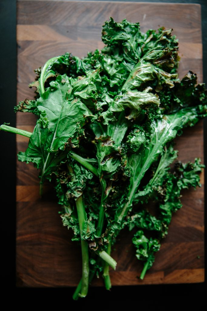 Grilled Kale Salad with sautéed apples and dijon dressing